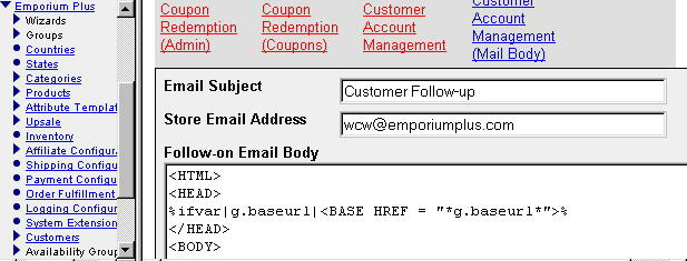 Admin screen for configuration of generic email