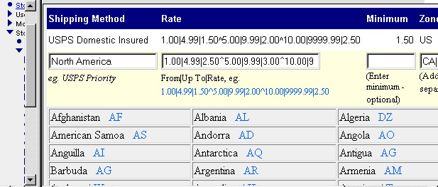 Screen shot showing administrative entry of rates